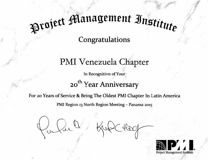 PMI® reconoce al Capítulo Venezuela por sus 20 años